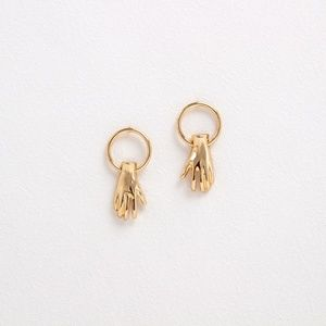 E634   Angle's Hand Earrings in Gold